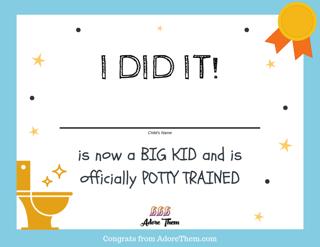 Potty Training Certificate - free parenting printable