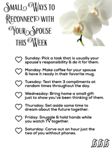 small ways to reconnect with your spouse