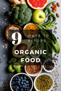 afford organic food article graphic with picture of fruits and vegetables in background