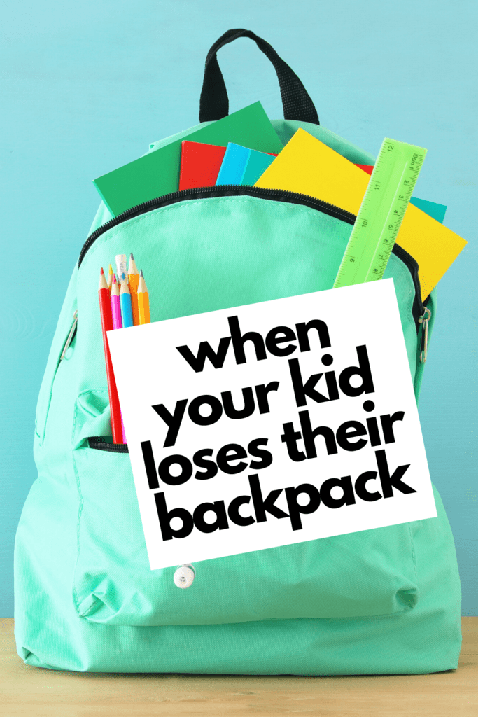 kid lost their backpack article graphic with photo of a teal backpack stuffed with multi colored folders and pencils