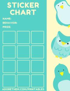 reward chart - owls