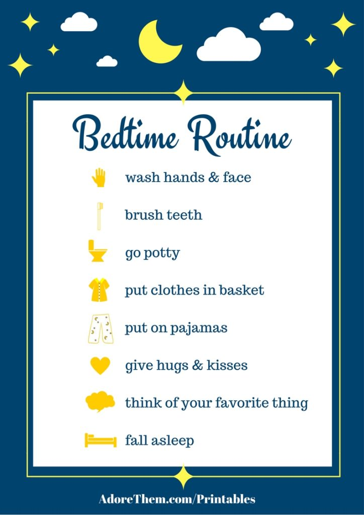 graphic about Children's Routine Charts Free Printable named Uncomplicated Bedtime Agenda Chart (printable) - Really like Them