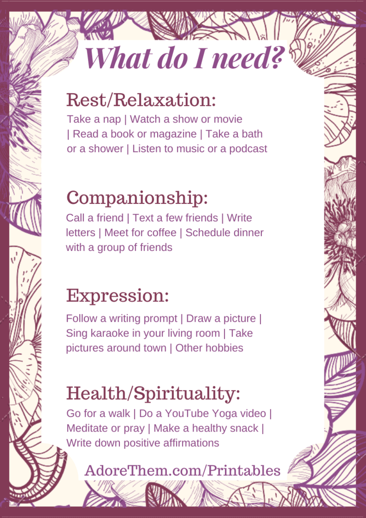 self care printable