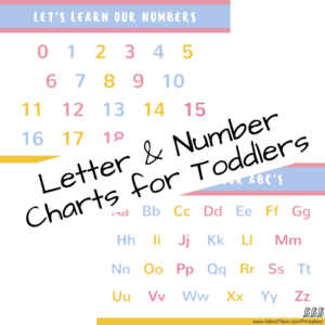 Letter and Number Charts for Toddlers