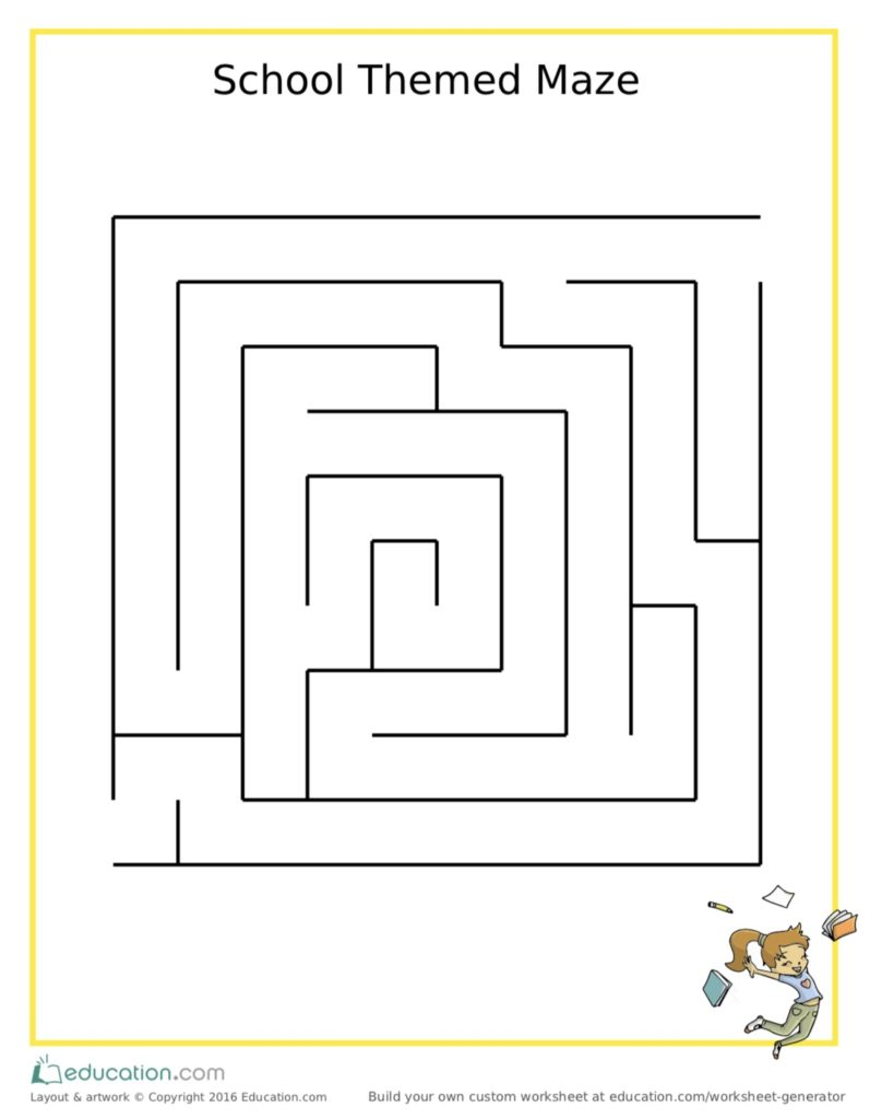 School Themed Maze Printable