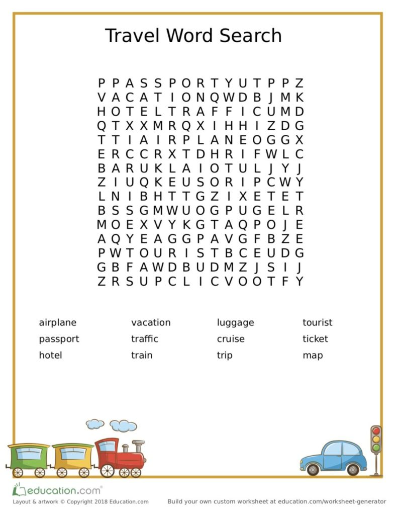 Travel Word Search Printable