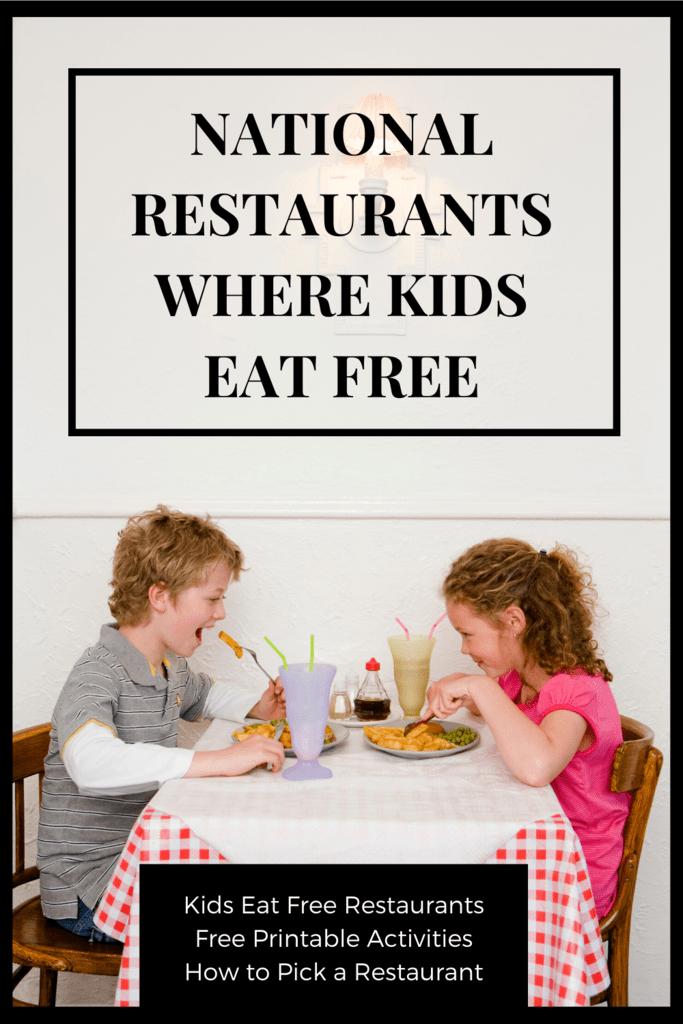 National Restaurants where Kids Eat Free