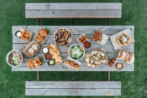 top view of picnic table with food on it