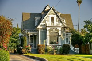 victorian style home at golden hour