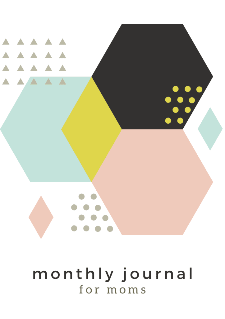 Monthly Journal Pages Free Printable graphic with soft colored hexagon shapes