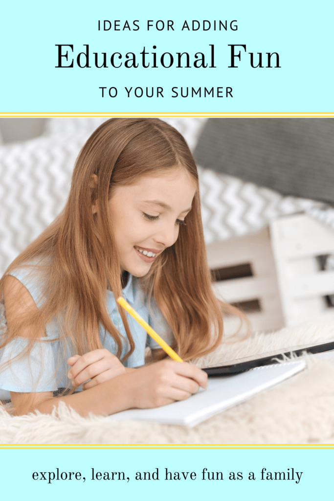 educational fun for summer graphic with picture of a girl on her bedroom floor smiling and writing on paper