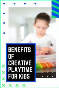 Benefits of Creative Playtime for Kids graphic with picture of a girl coloring