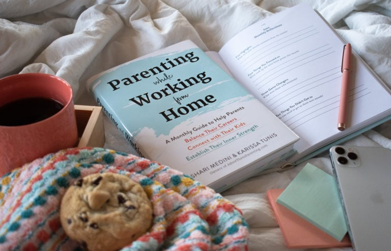 Parenting while Working from Home Book flatlay on white bed with coffee and cookie