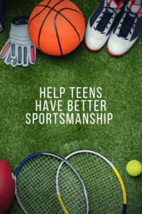 Help Teens Have Better Sportsmanshipgraphic with overhead picture of sports equipment on turf