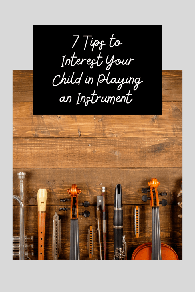 encourage child to play instrument graphic with flatly picture of various instruments