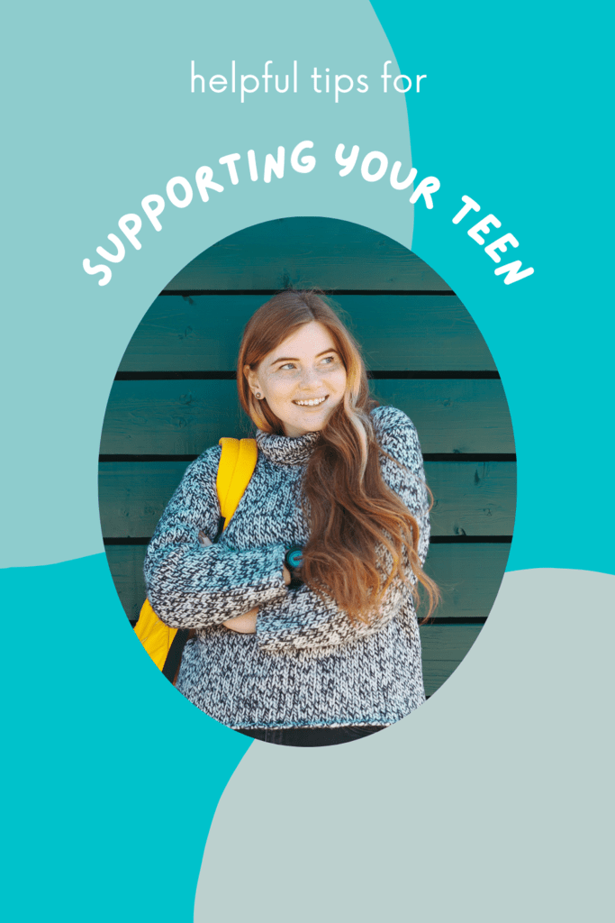 support your teen graphic with image of a girl with a yellow backpack