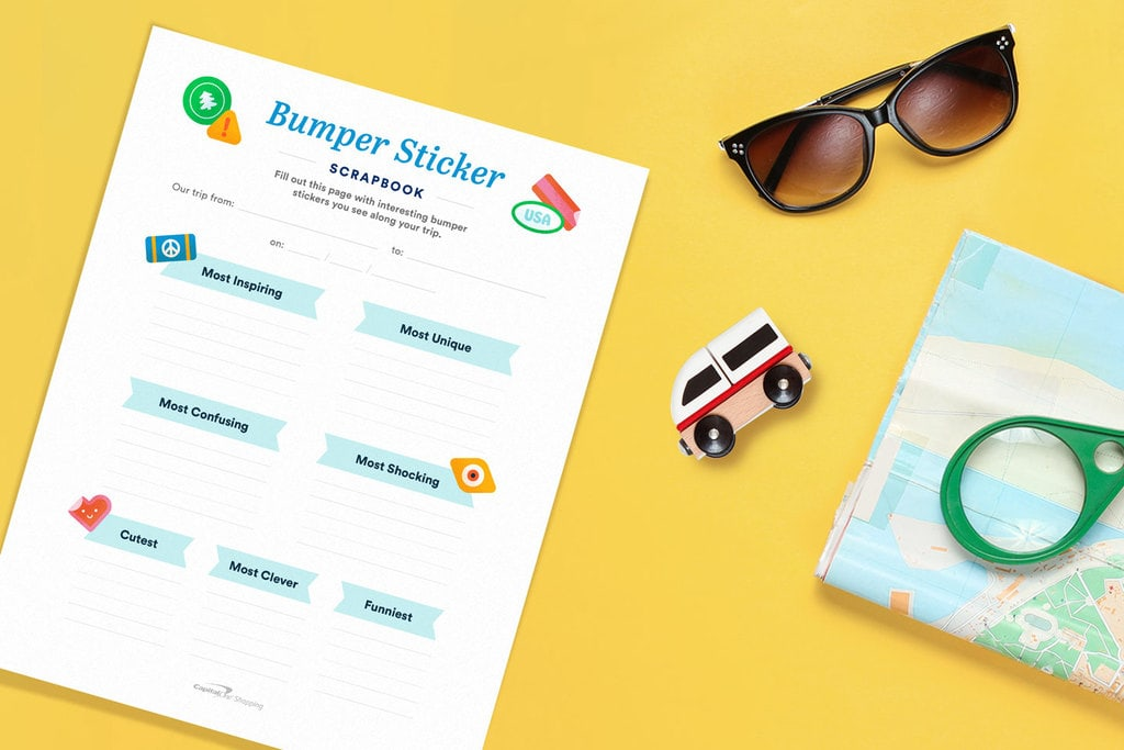 free printable road trip game bumper sticker scrapbook mockup