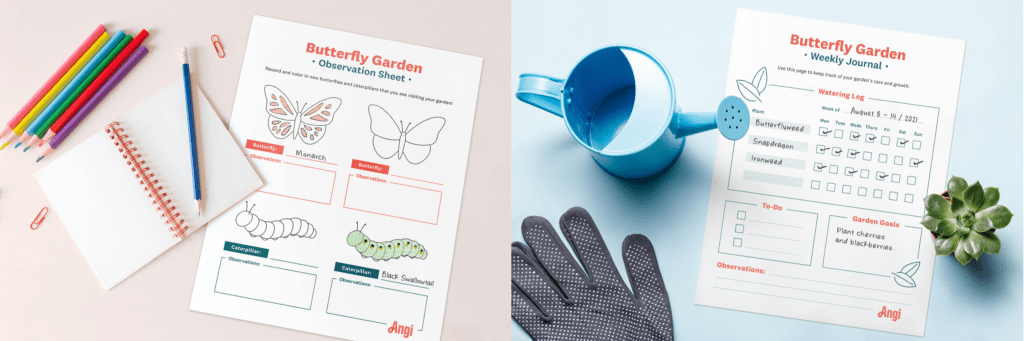 butterfly garden activities for kids mockups of free printables